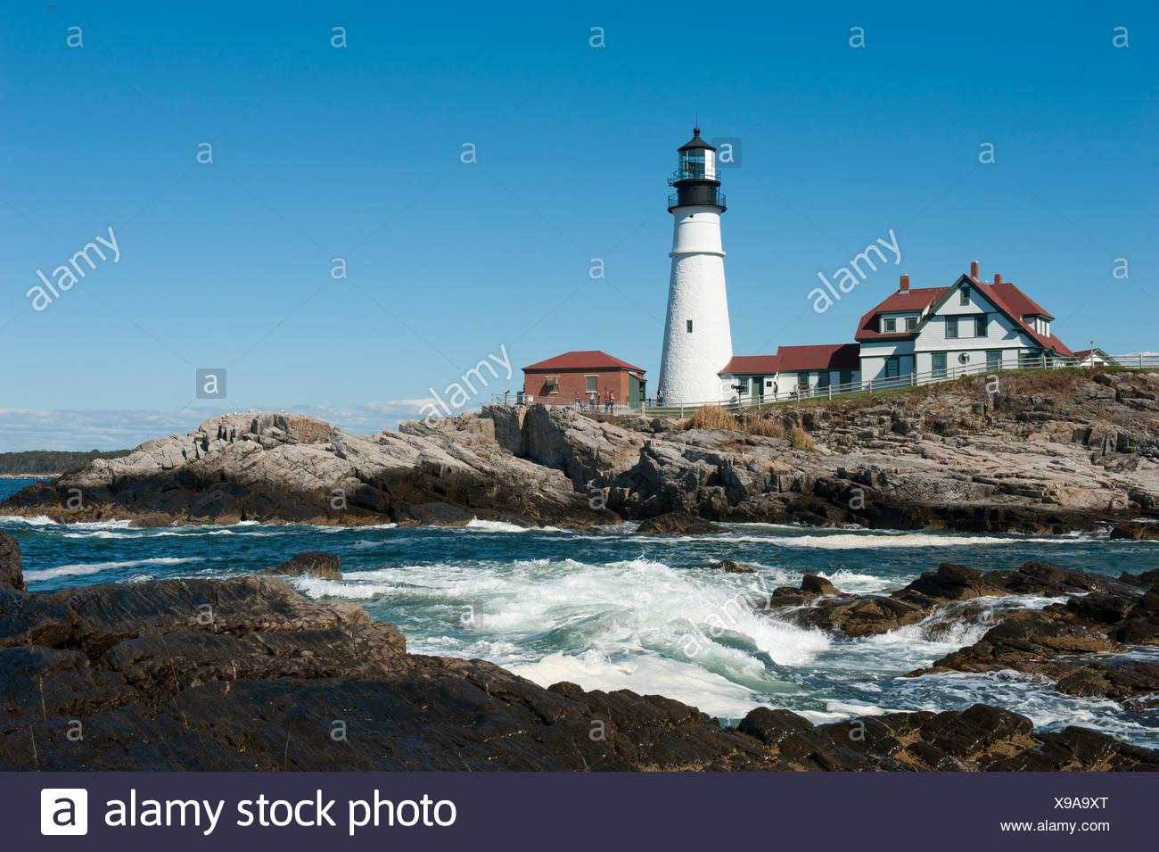 Historic Portland Head Lighthouse MAINE New England Ocean Rocky Shore PHOTO
