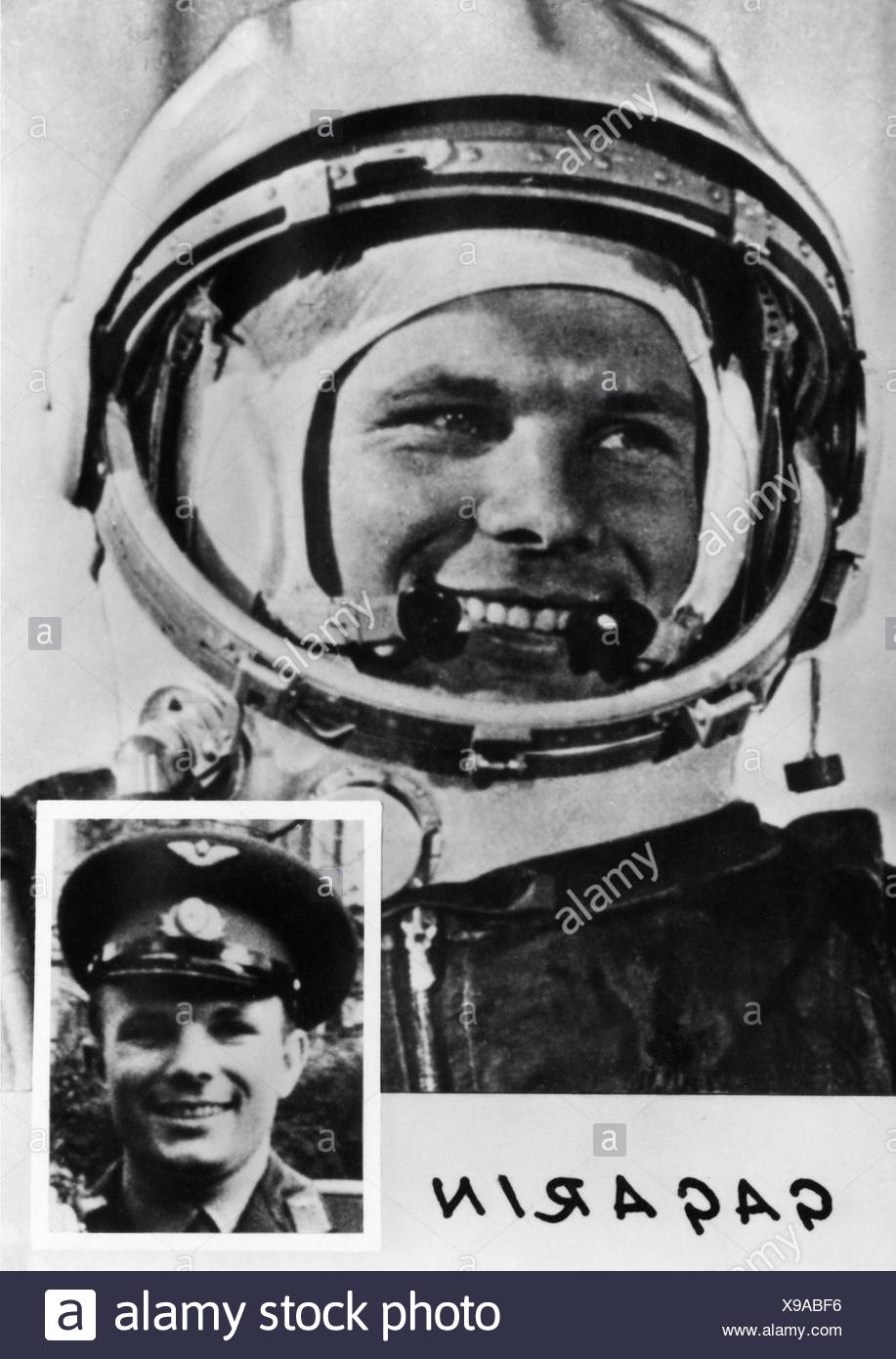 Gagarin, Yuri, 9.3.1934 - 27.3.1968, Soviet spaceman (cosmonaut), portrait, Additional-Rights-Clearances-NA - Stock Image