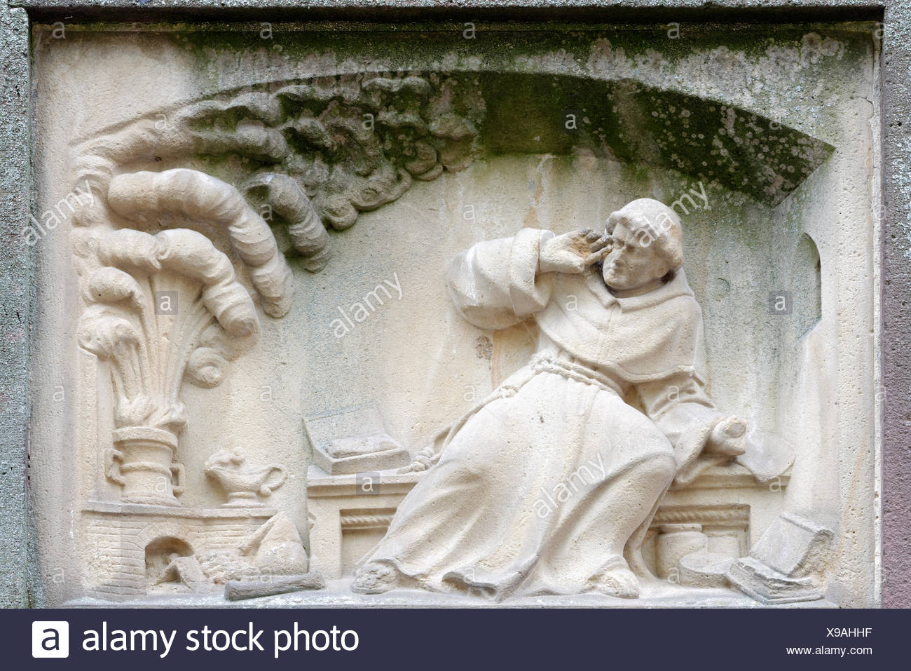 Relief of Berthold Schwarz, inventor of gunpowder, Berthold Schwarz Fountain by Josef Alois Knittel, 1855, Freiburg im Breisgau - Stock Image