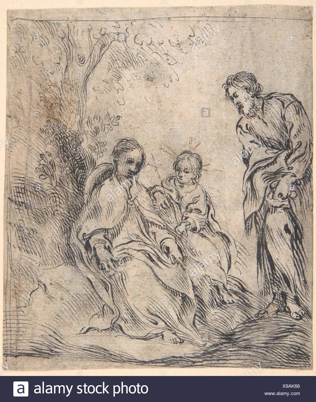 The Youthful Baptist with his Parents. Artist: attributed to Antonio del Castillo y Saavedra (Spanish, Cordoba 1616-1668 Cordoba); Date: 1616-68; - Stock Image