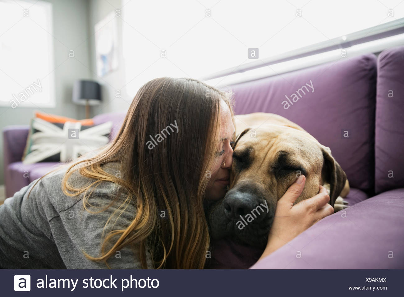 Woman kissing dog on living room sofa - Stock Image