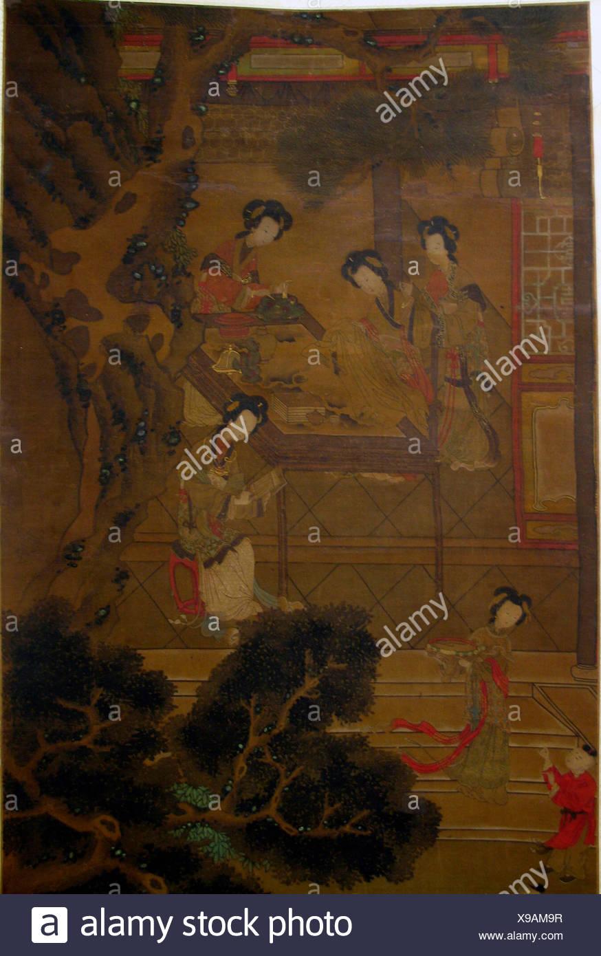 Women in Garden. Artist: Unidentified Artist; Period: Qing dynasty ...