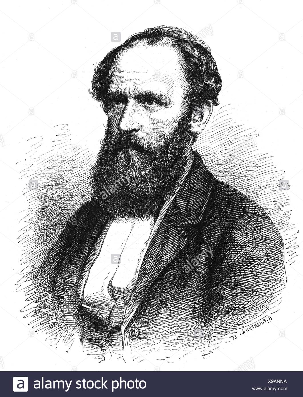 Bucher, Lothar, 25.10.1817 - 12.10.1892, German civil servant, politician and journalist, reporting counsel in the Foreign Ministry 1871 - 1886, portrait, wood engraving after drawing by H. P. Hansen, 1874, Artist's Copyright has not to be cleared Stock Photo