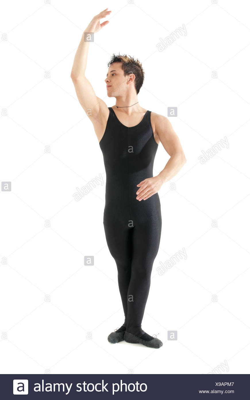 Young man dancing ballet isolated on white background - Stock Image
