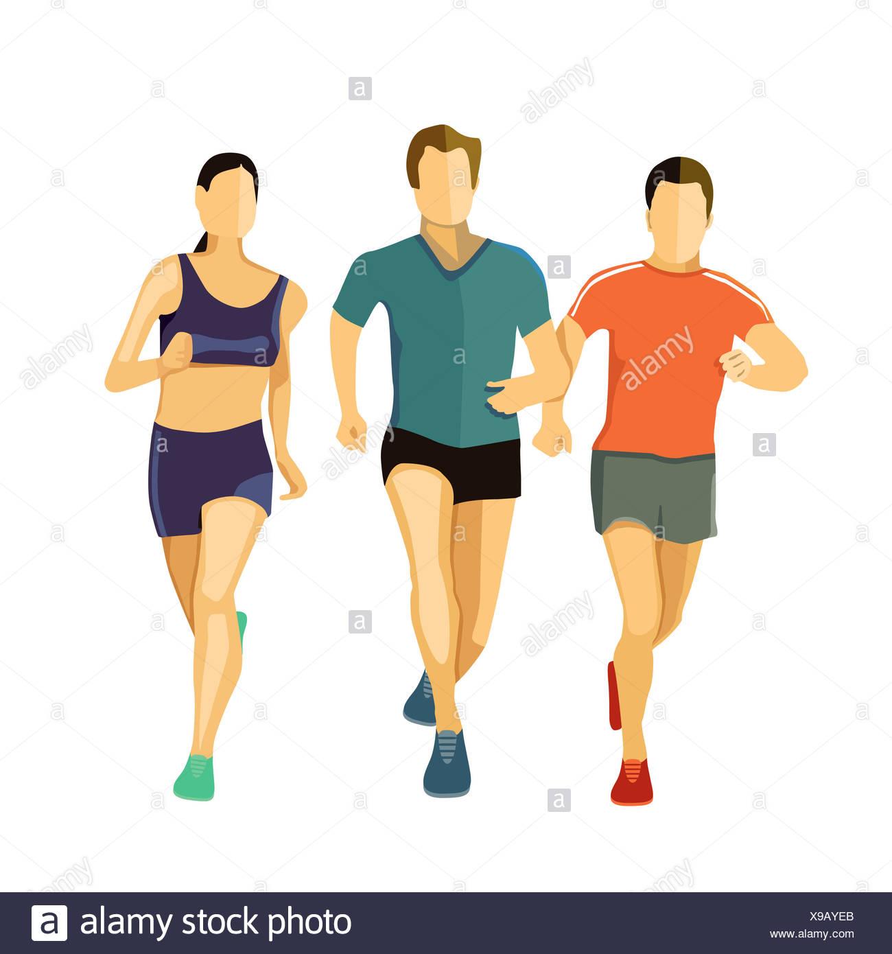 three runners - Stock Image