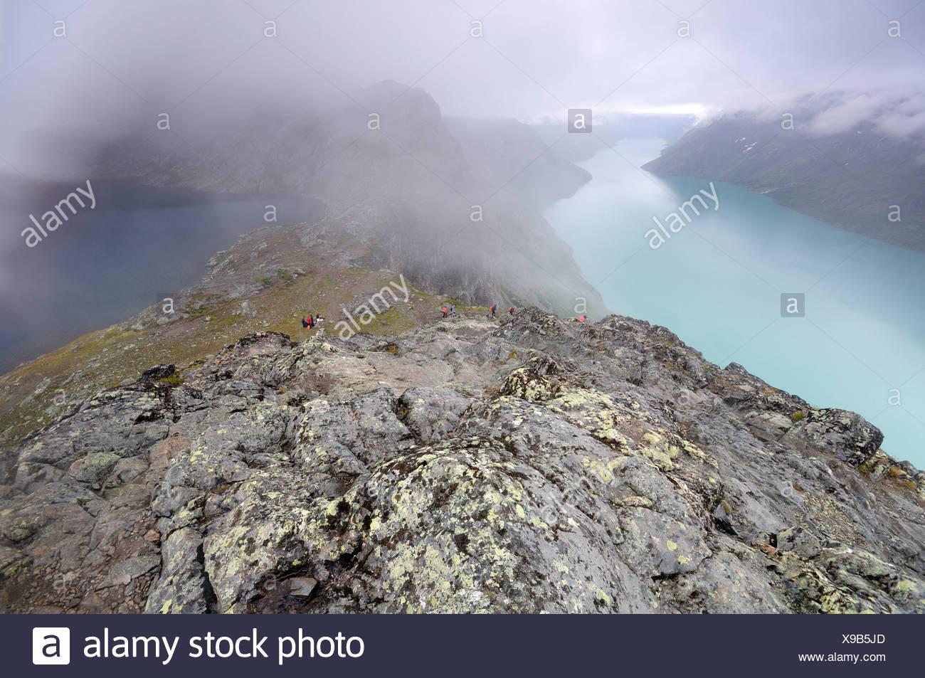 View over Lake Gjende from Besseggen ridge, Jotunheimen National Park, Norway, Scandinavia, Europe - Stock Image