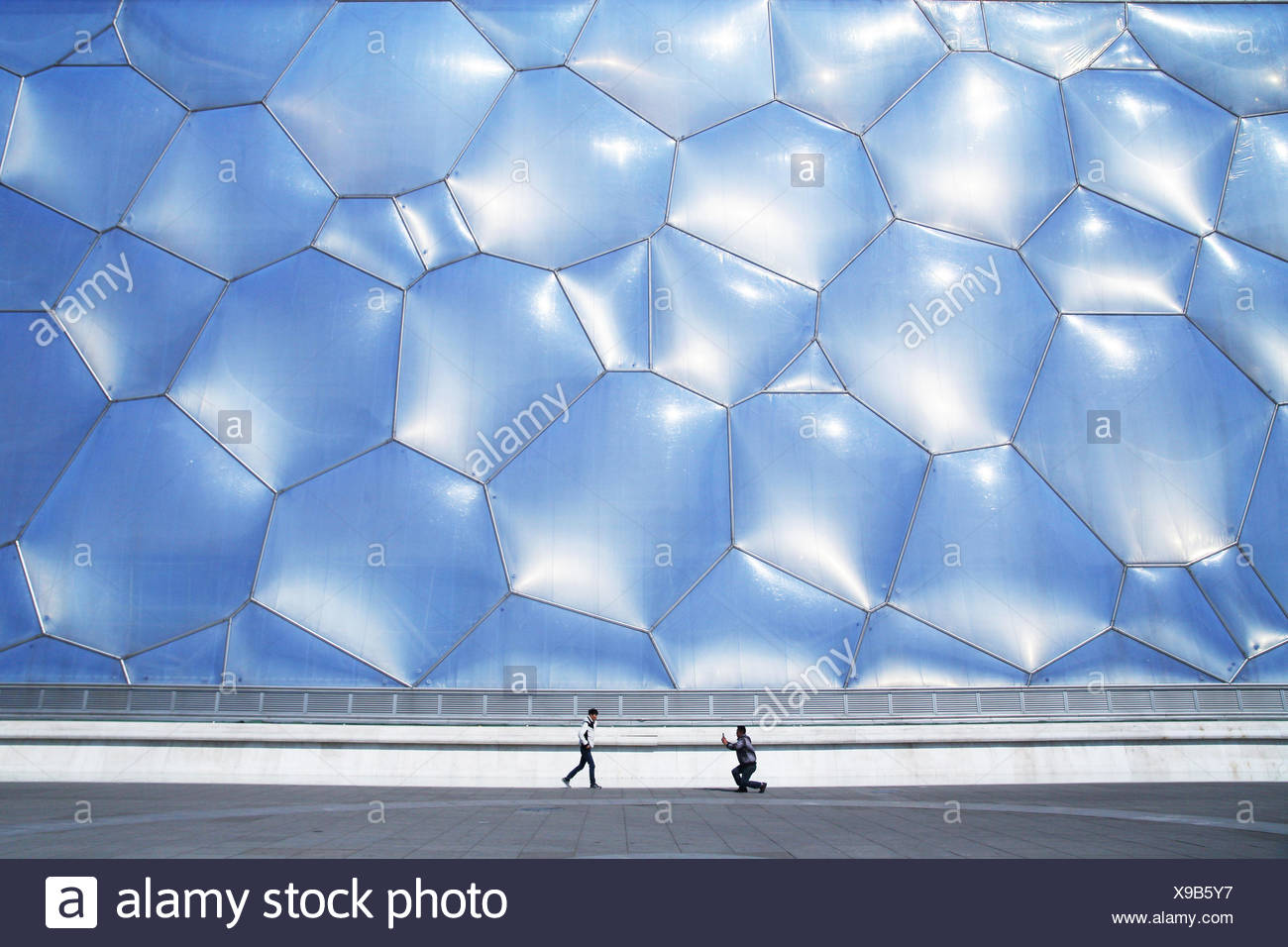 The National Aquatics Center, or Water Cube, in Beijing. - Stock Image