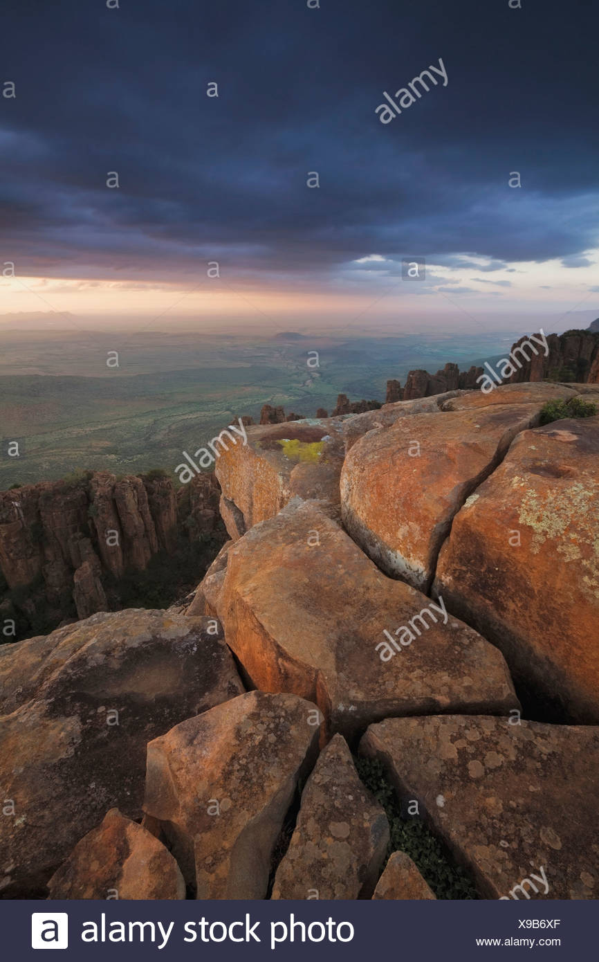 View of Great Karoo from Valley of Desolation at sunset, Graaff Reinet, Eastern Cape Province, South Africa Stock Photo