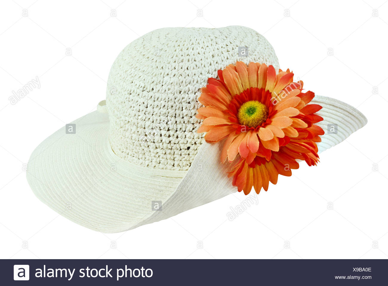 dfbf8bf3 White sunhat with flowers isolated over a white background with clipping  path included.