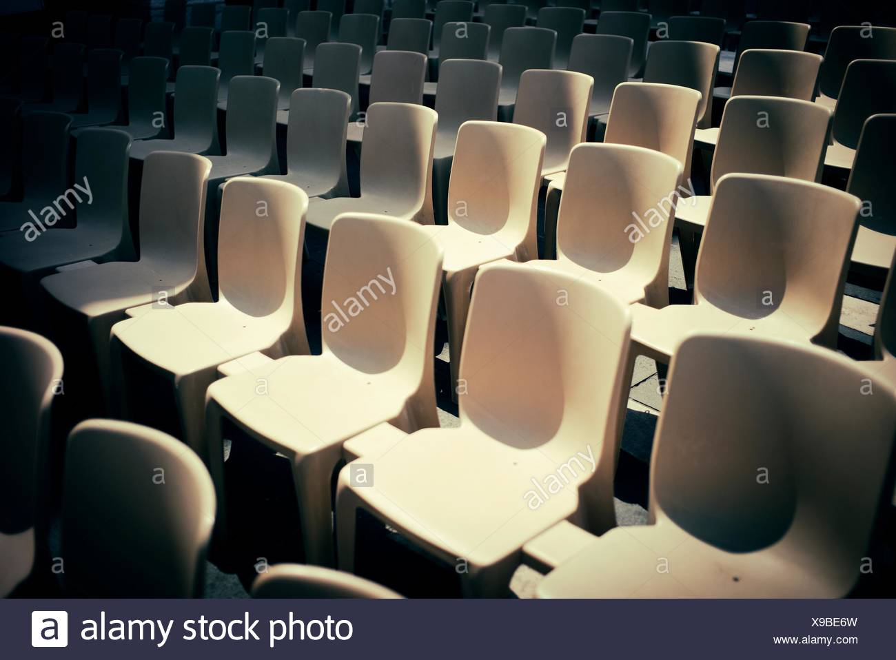 Group of identical chairs set for a public event in Nice, Provence-Alpes-Cote Azur, France, Europe - Stock Image