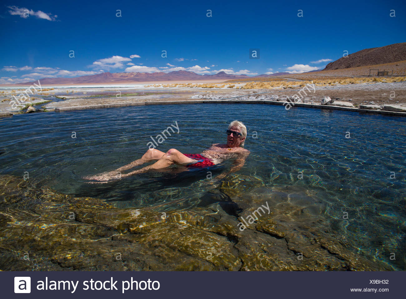 Thermal bath  in the Siloli Desert - Stock Image
