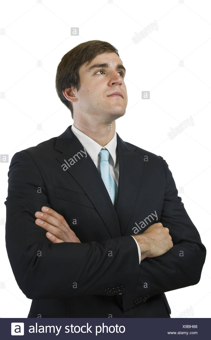 manager looking up optimistic - Stock Image