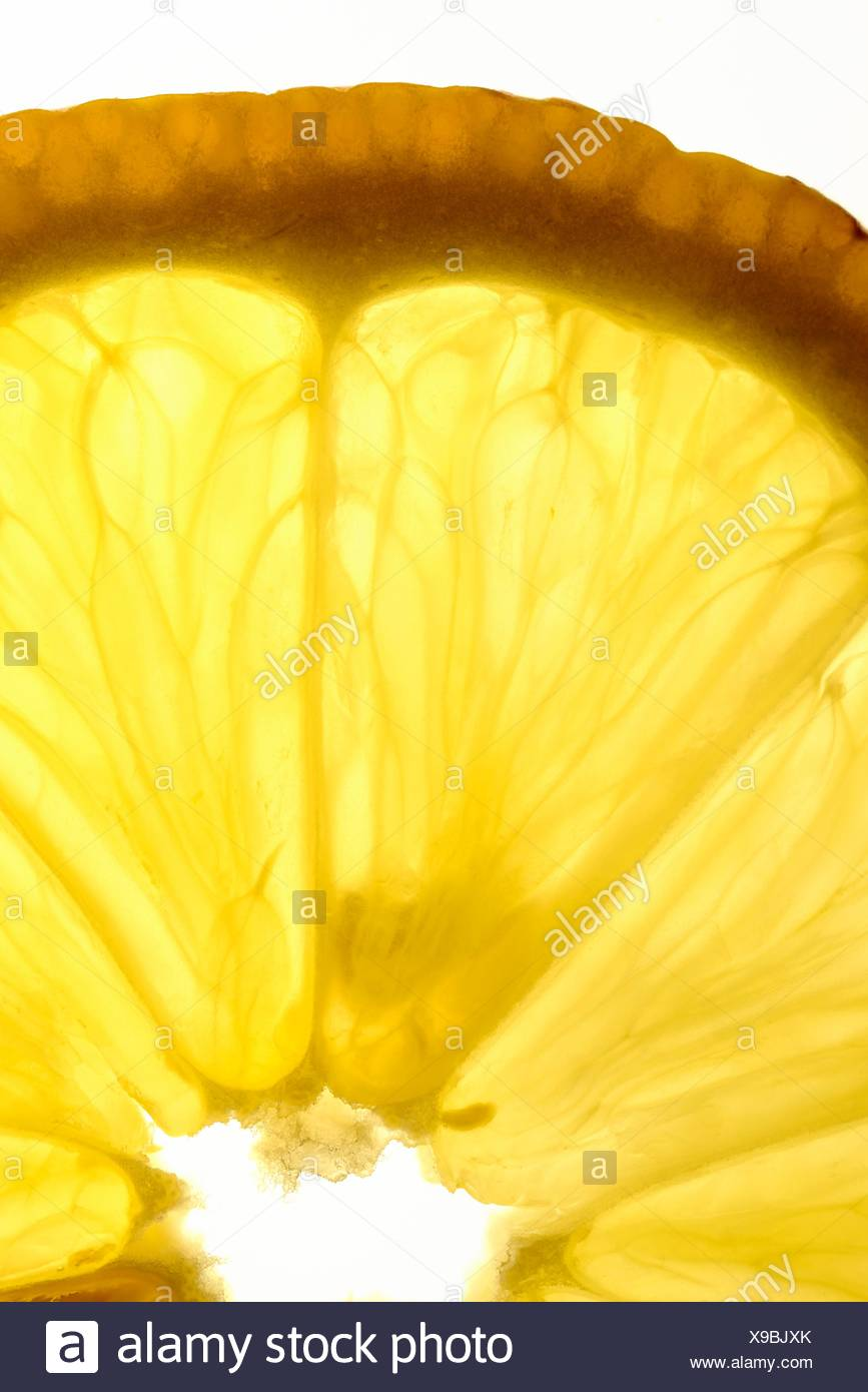 Slice of lemon photographed at backlight - Stock Image