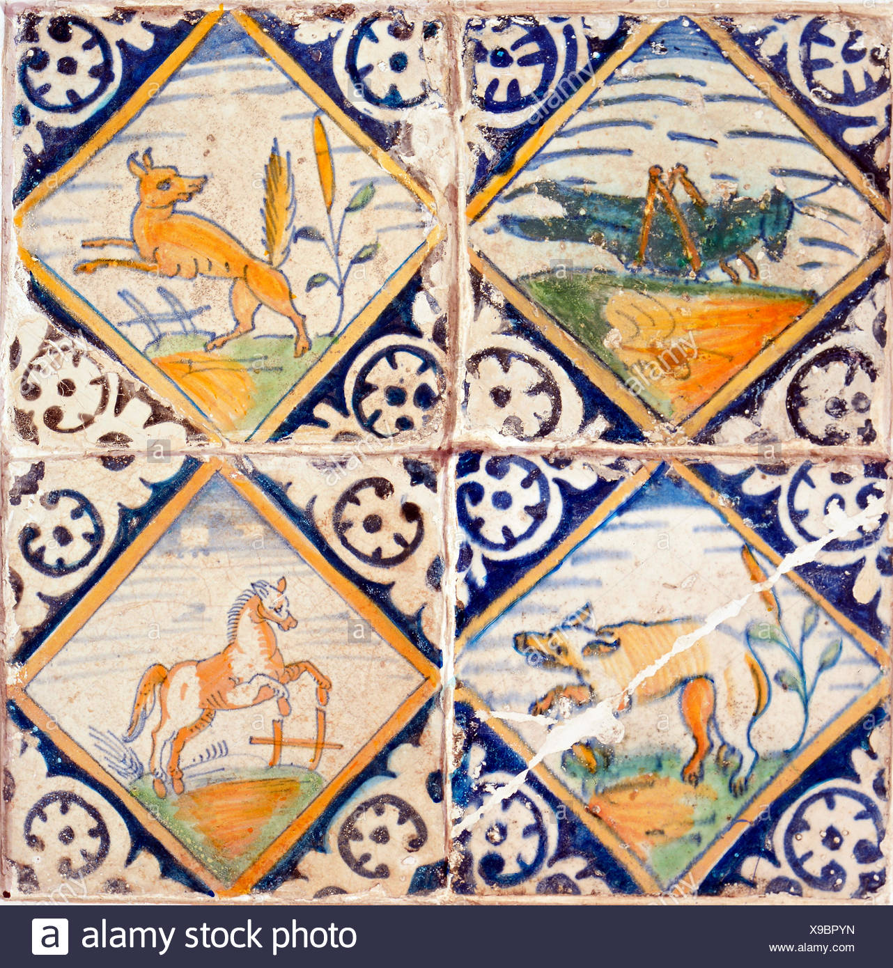 fine arts, decorative tiles, tiles with animal illustrations, Delft, 16th century, 13 x 13 cm, Instituut Collectie Nederland, Artist's Copyright has not to be cleared - Stock Image