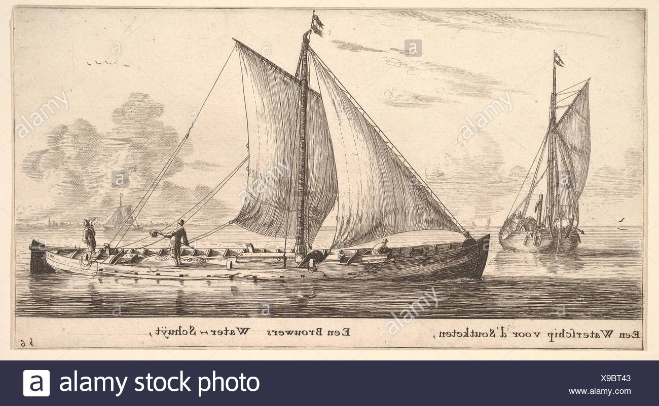 A Watership Carrying Water for Salt Works and Another One Carrying Water for the Breweries. Artist: Reinier Nooms, called Zeeman (Dutch, Amsterdam - Stock Image