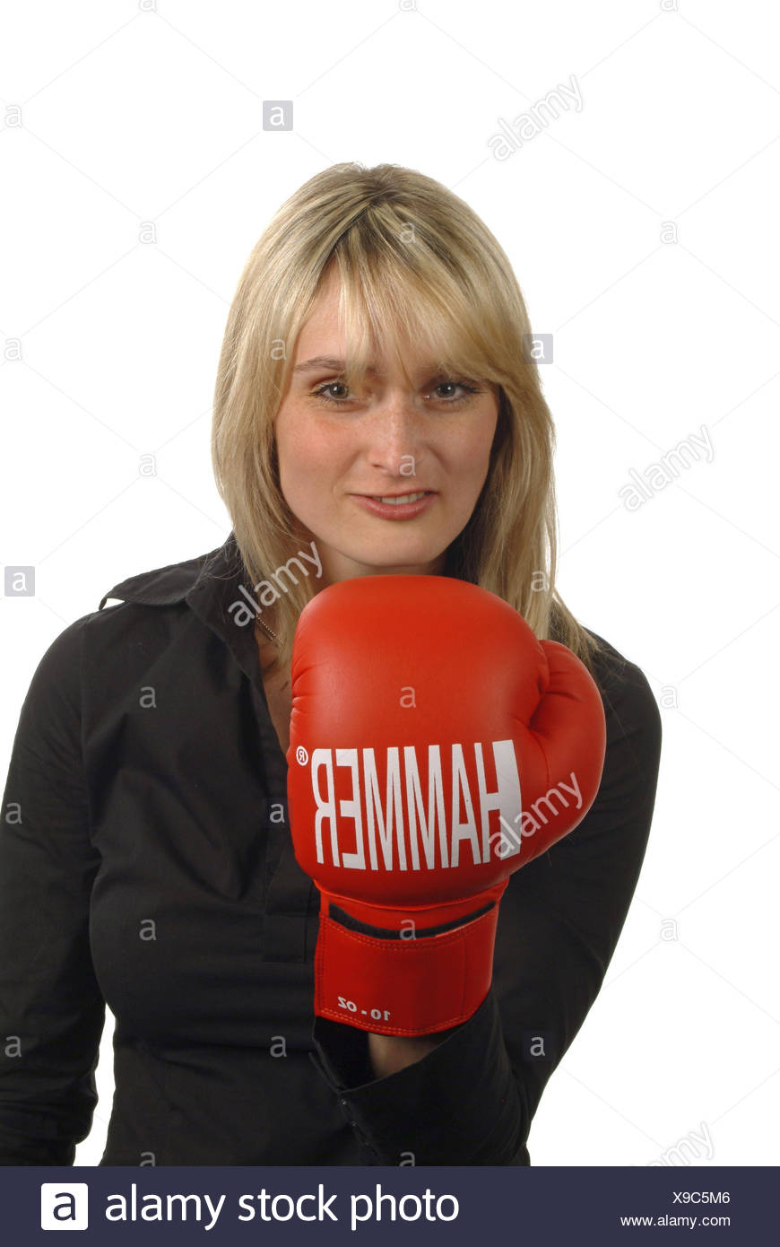 Young woman with boxing gloves, Stock Photo