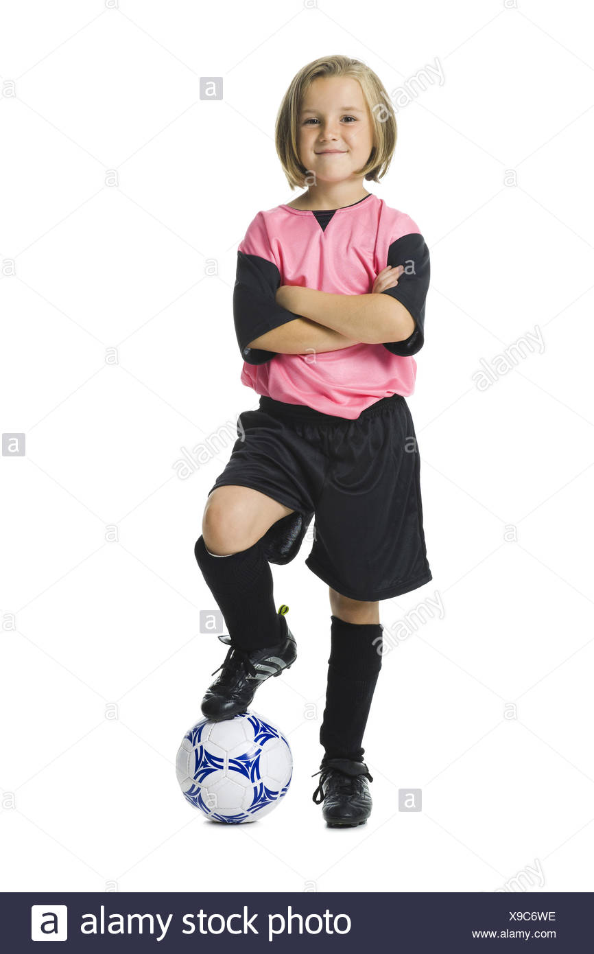 78f520bde Young girl in a soccer uniform with ball Stock Photo  281166634 - Alamy