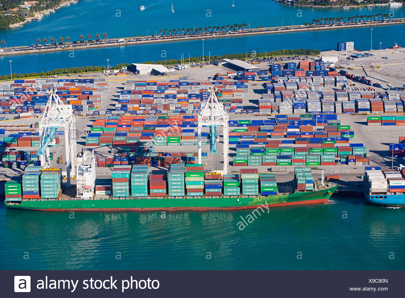 Cargo containers at shipping dock Stock Photo