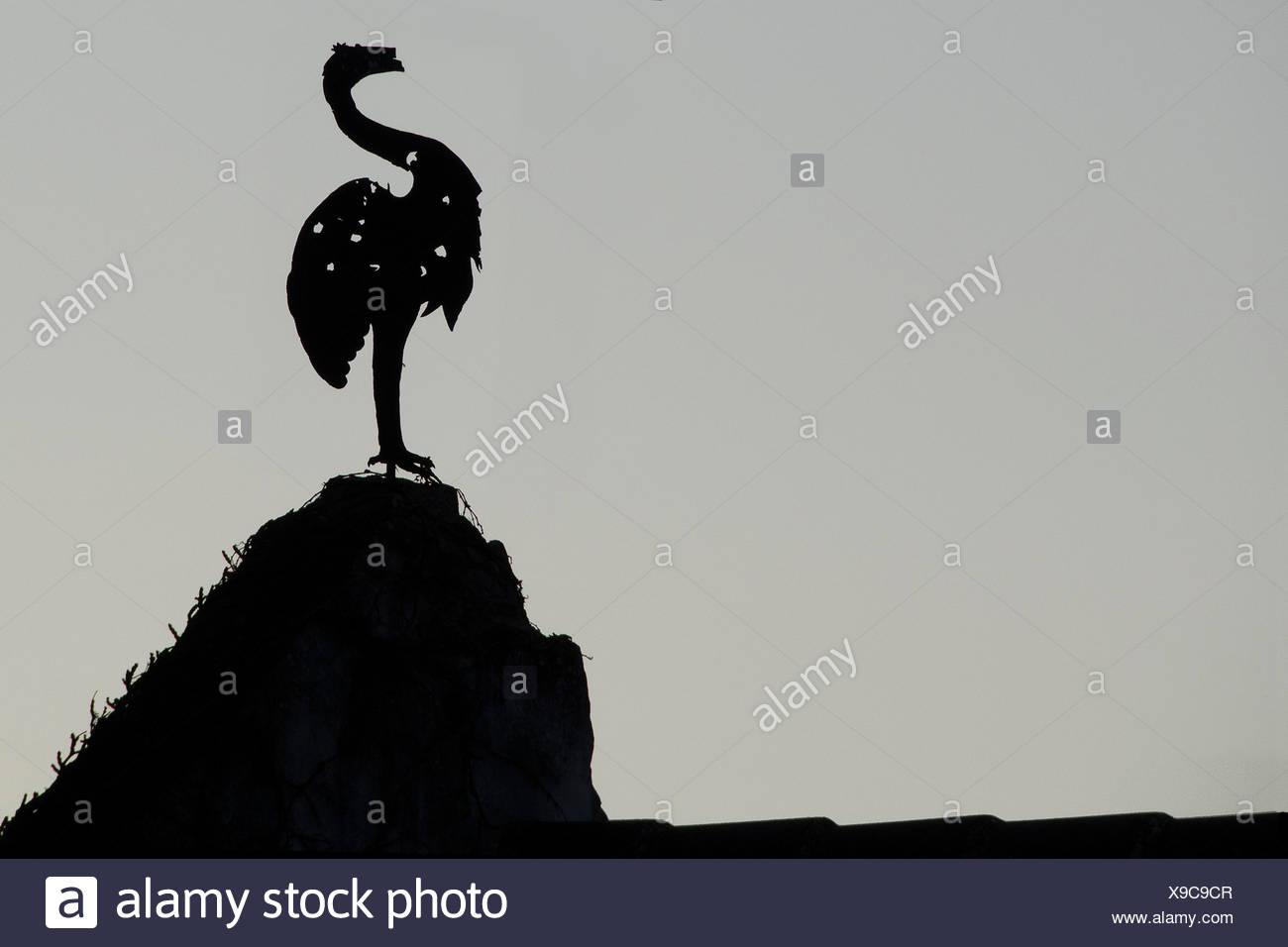 Silhouette eines Fabeltieres auf dem Giebel eines Schlosses, Mühlbach, Niederösterreich, Österreich, 2011; silhouette of a fabulous beast at the gable of a palace, Muehlbach, Lower Austria, Austria, 2011 Stock Photo