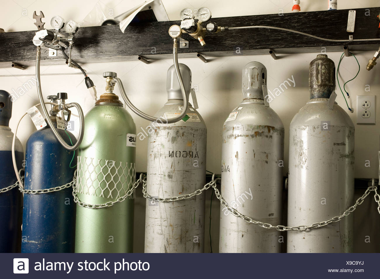 Compressed gases for atomic absorption aAlysis - Stock Image