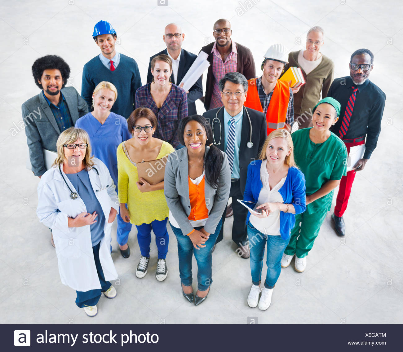 Group of Diverse Multiethnic People with Various Jobs - Stock Image