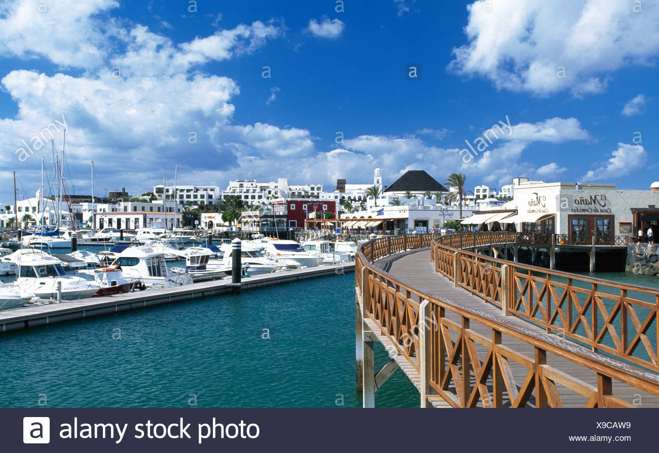 Port of Playa Blanca, Lanzarote, Canary Islands, Spain, Europe - Stock Image
