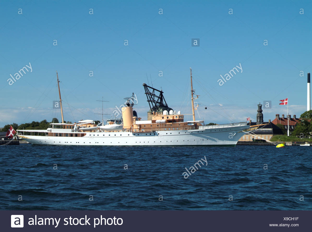 navigation, ships, Her Danish Majesty's Yacht Dannebrog, at Copenhaven harbour, Additional-Rights-Clearance-Info-Not-Available - Stock Image