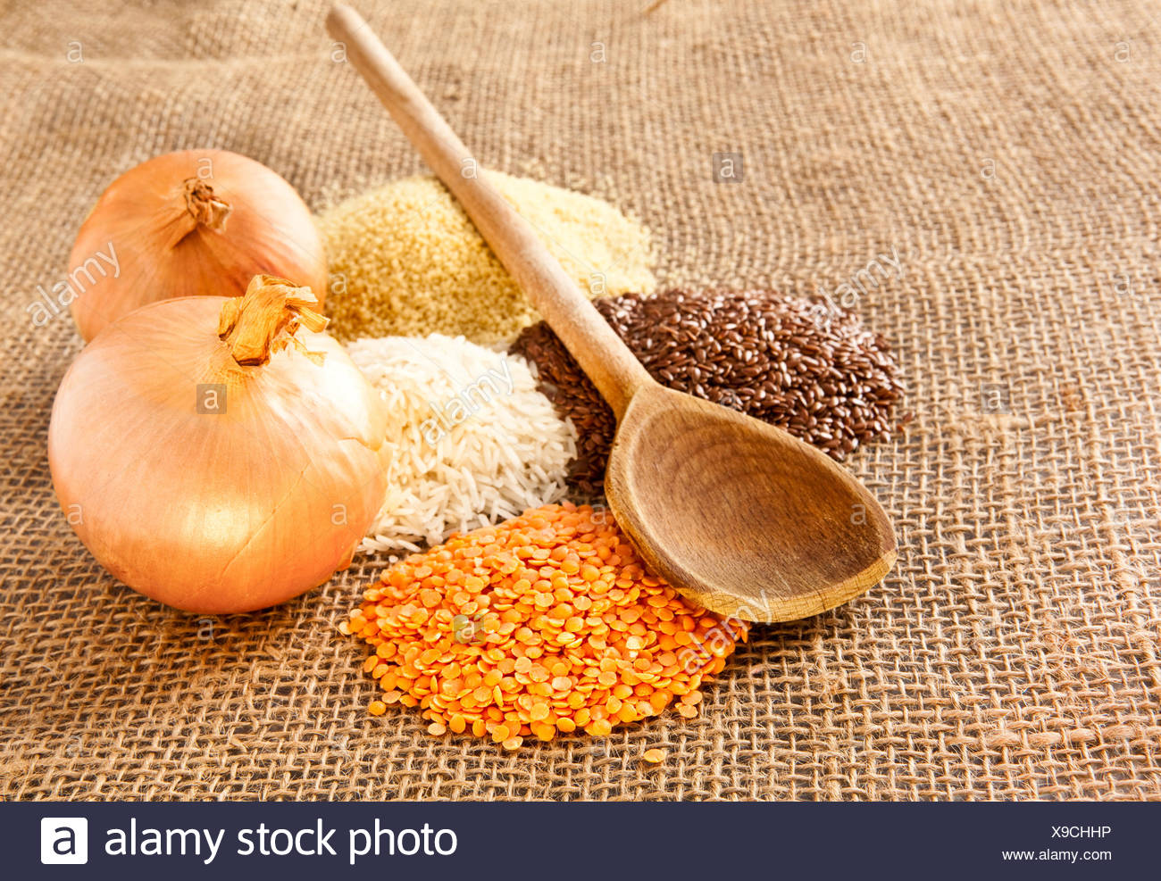 food aliment brown brownish brunette rough four grain kitchen cuisine wholesome material drug anaesthetic addictive drug - Stock Image
