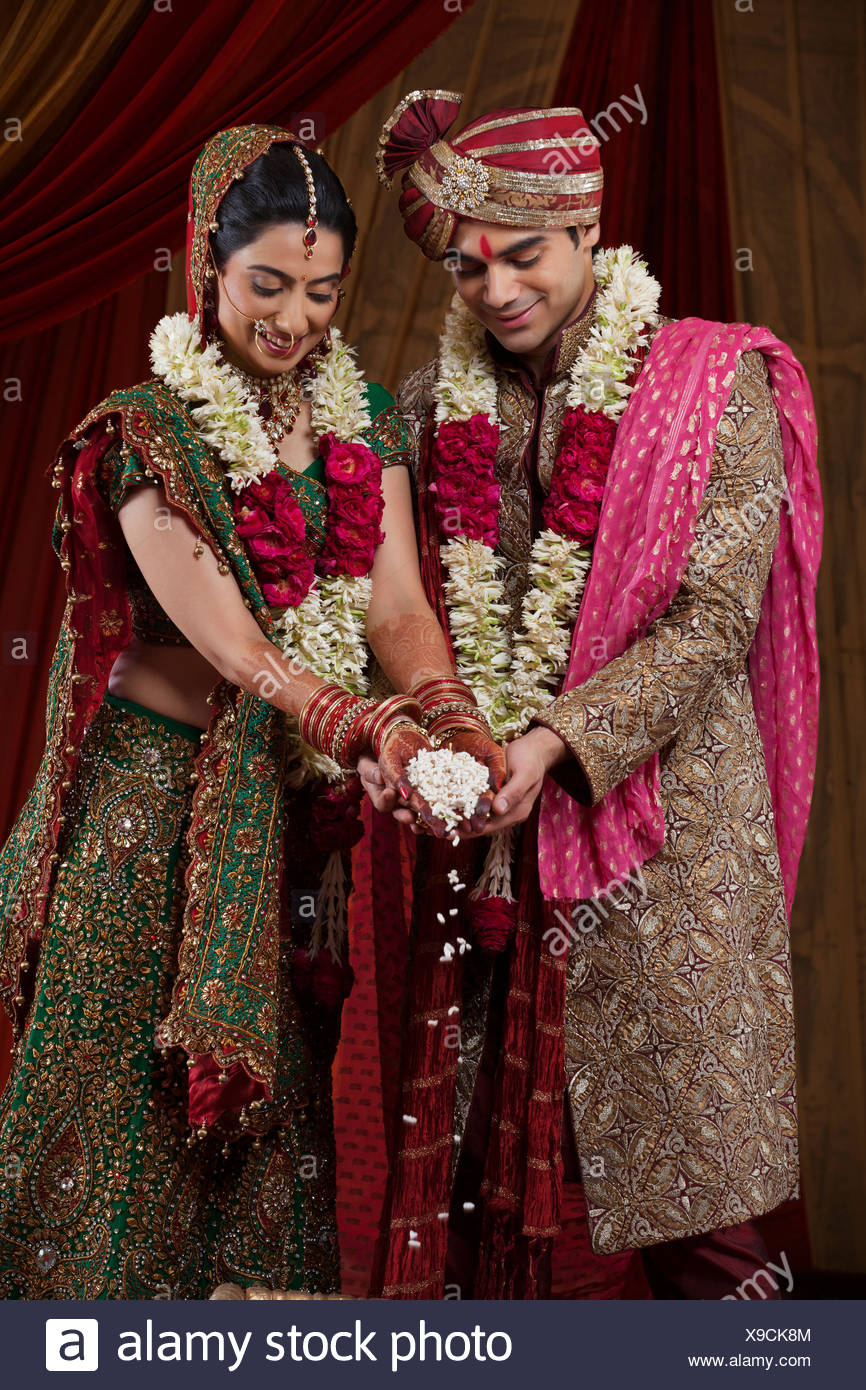 Bride and Bridegroom during traditional ceremony - Stock Image