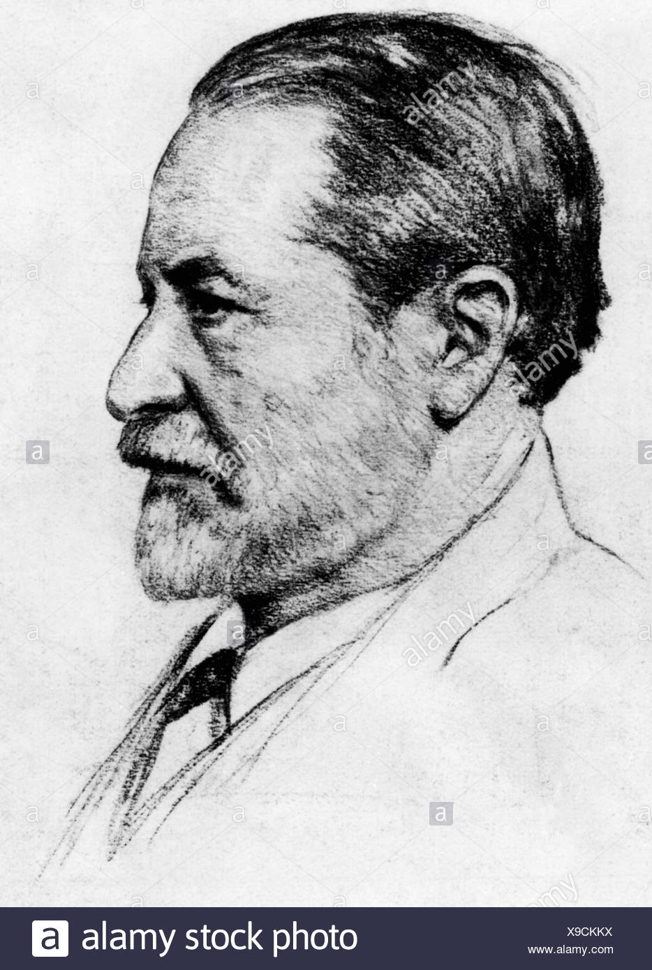 Freud, Sigmund, 6.5.1856 - 23.9.1939, Austrian physician, founder of the psychoanalytic school of psychology, portrait, drawing by John Lipp, Munich, 1925, Additional-Rights-Clearances-NA - Stock Image
