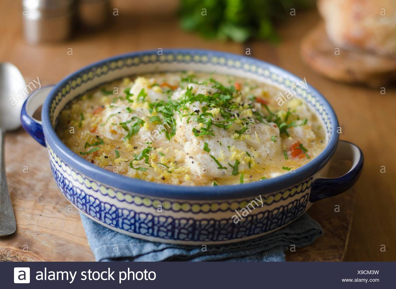 Sicilian stew made of fish, couscous and tomatoes. - Stock Image