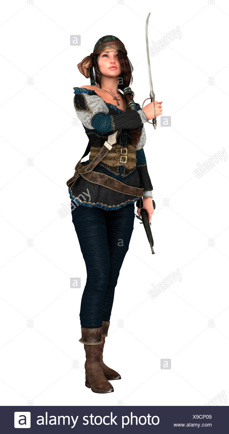 3D Rendering Pirate Woman on White - Stock Image