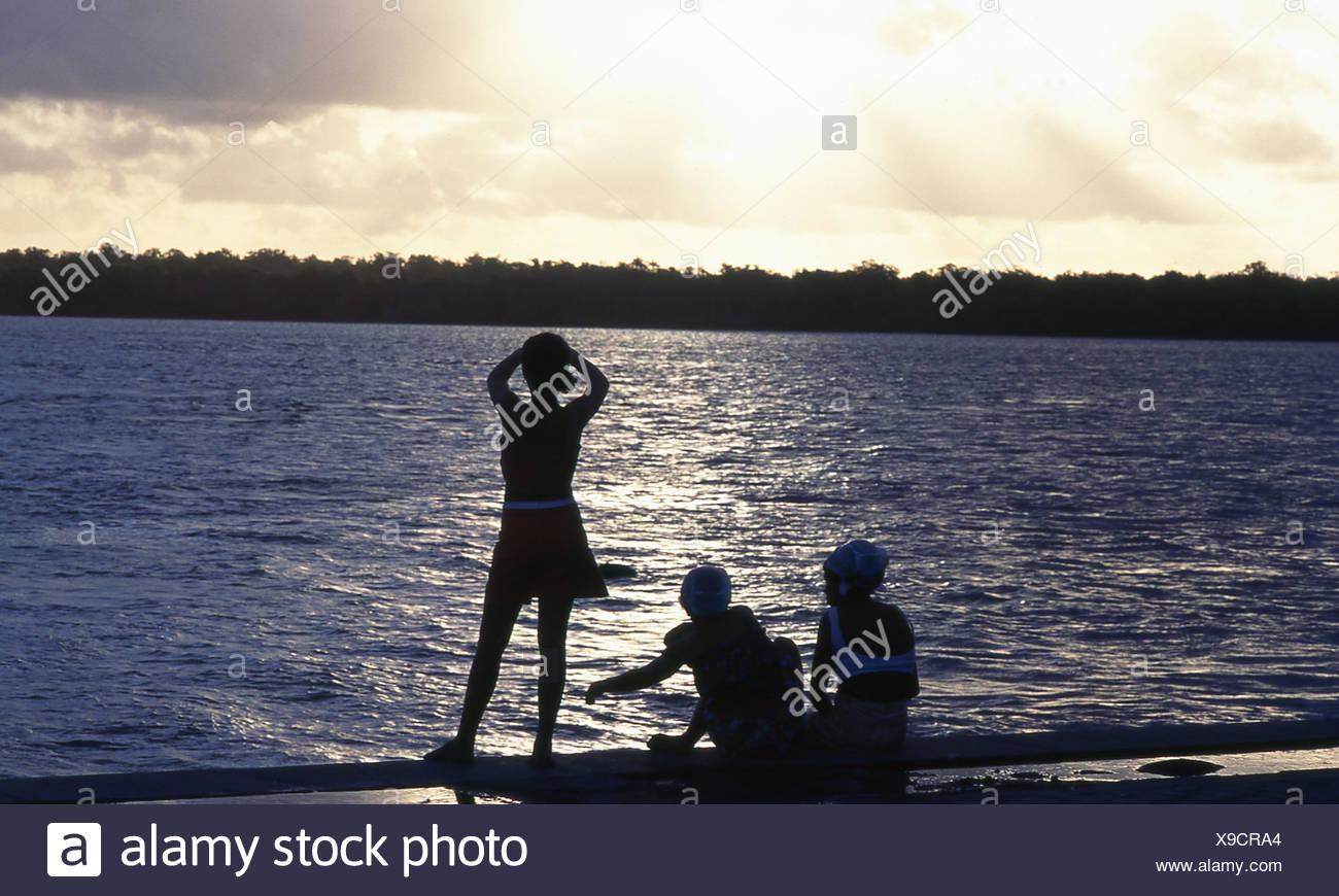 River, people, Caravelas, Bahia, Brazil - Stock Image