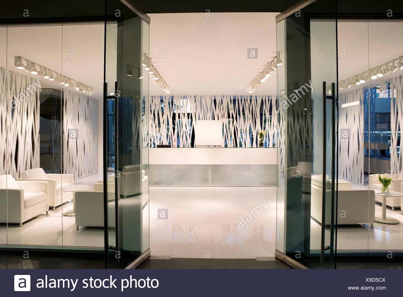 modern office door. Empty, Modern Office Lobby - Stock Image Door E