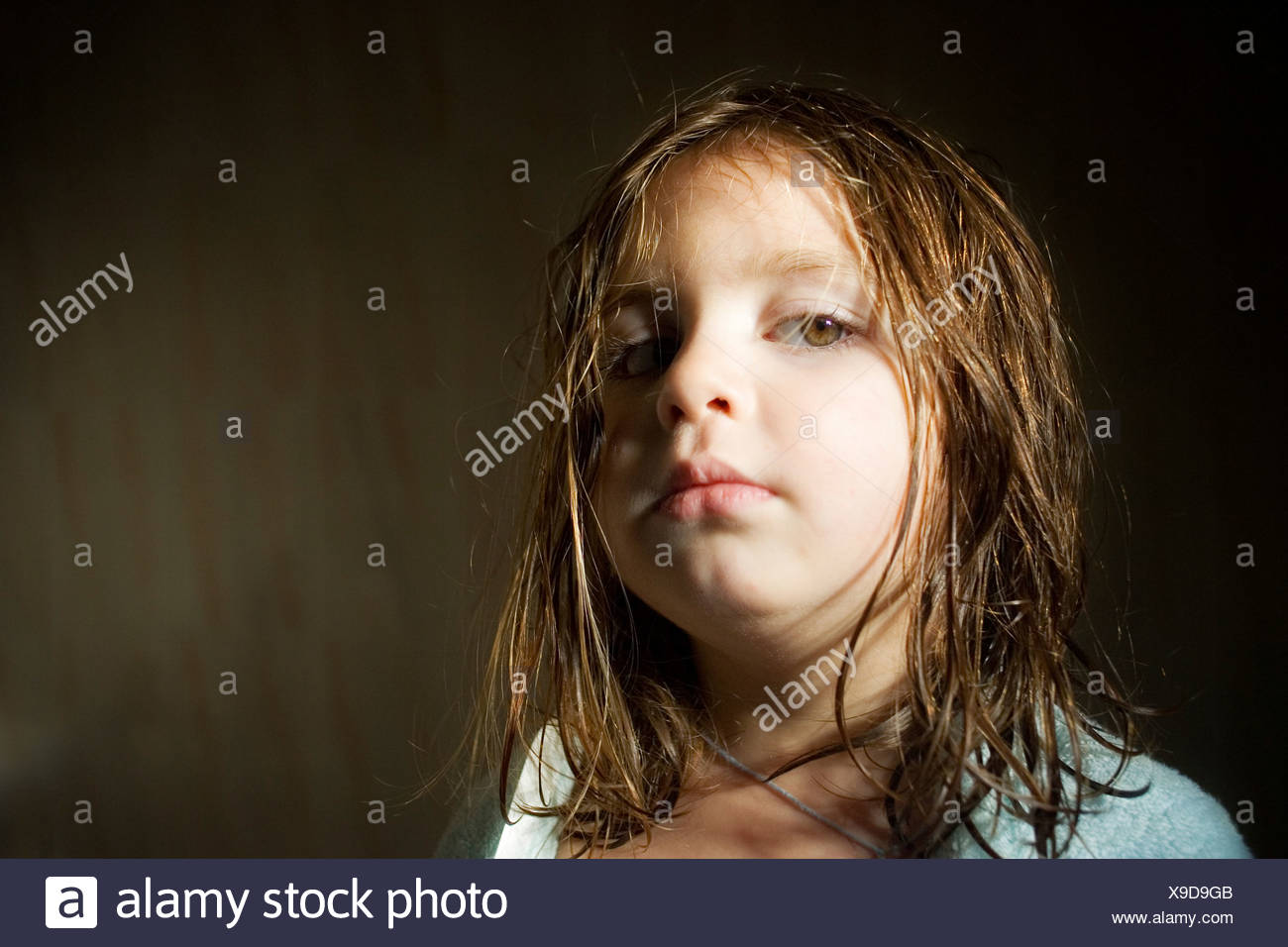 Portrait of a girl who just had a bath - Stock Image