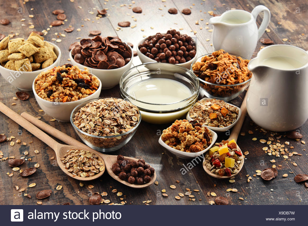 Composition with different sorts of breakfast cereal products - Stock Image