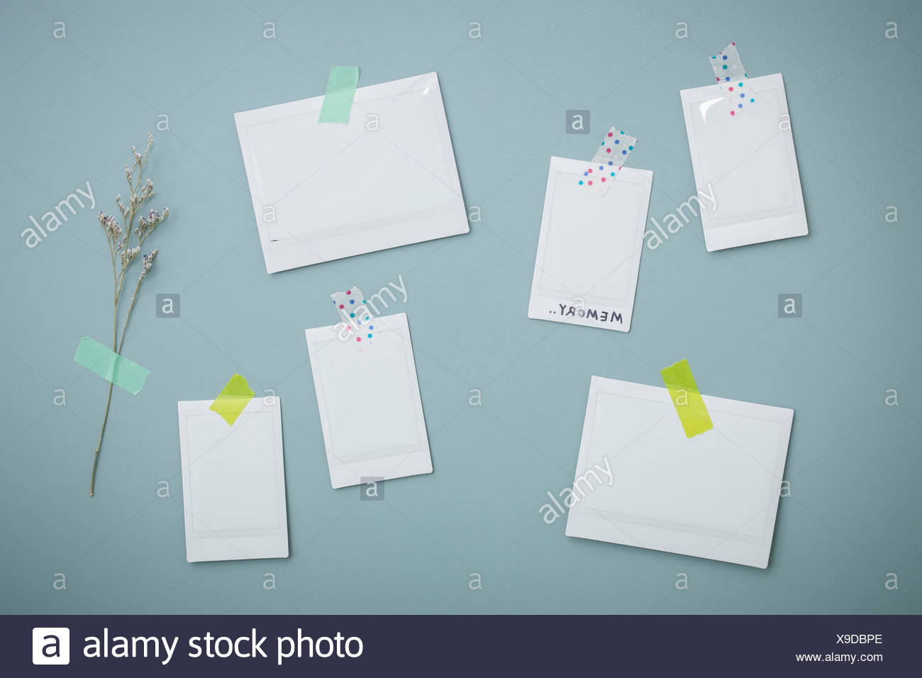 Copy spaces of memos attached on the wall - Stock Image