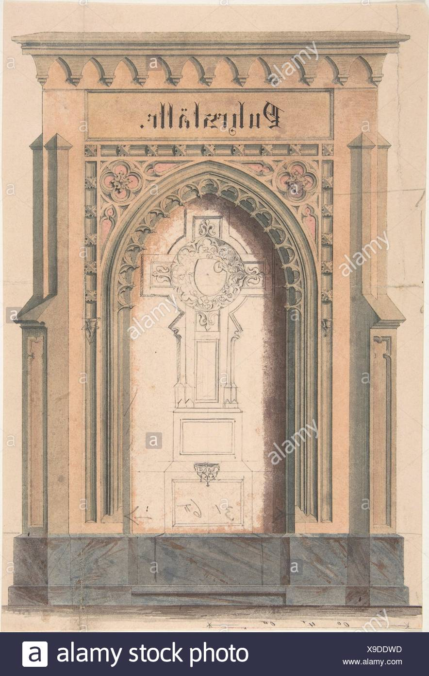 Design For Gothic Archway And Cross Artist Anonymous German 19th Century