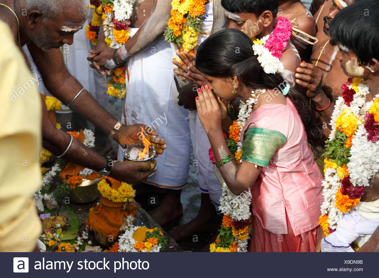Holy Fire, Thaipusam festival in Tenkasi, Tamil Nadu, Tamilnadu, South India, India, Asia Stock Photo