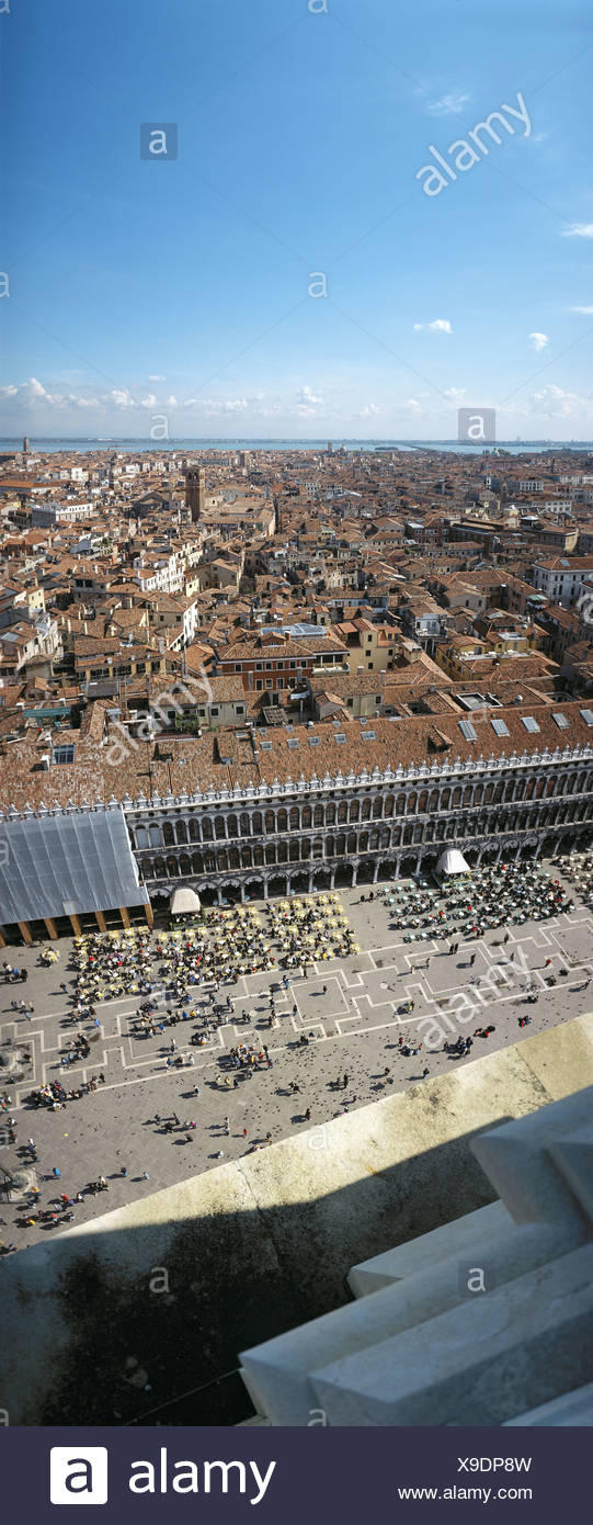 roofs houses homes Italy Europe Marcus place overview Venice - Stock Image