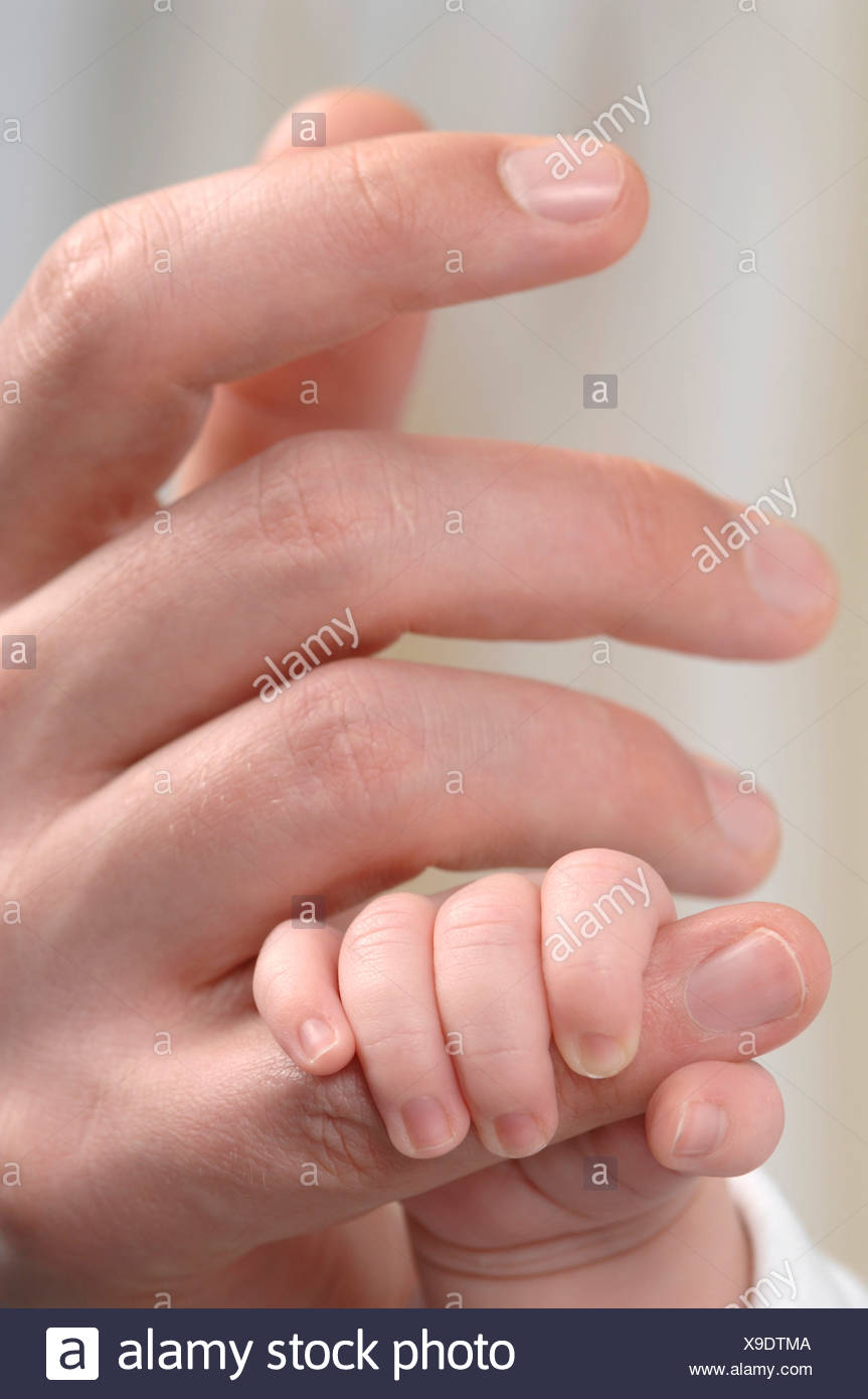 Germany, Bavaria, Munich, Baby boy (3 weeks) holding finger, close up - Stock Image