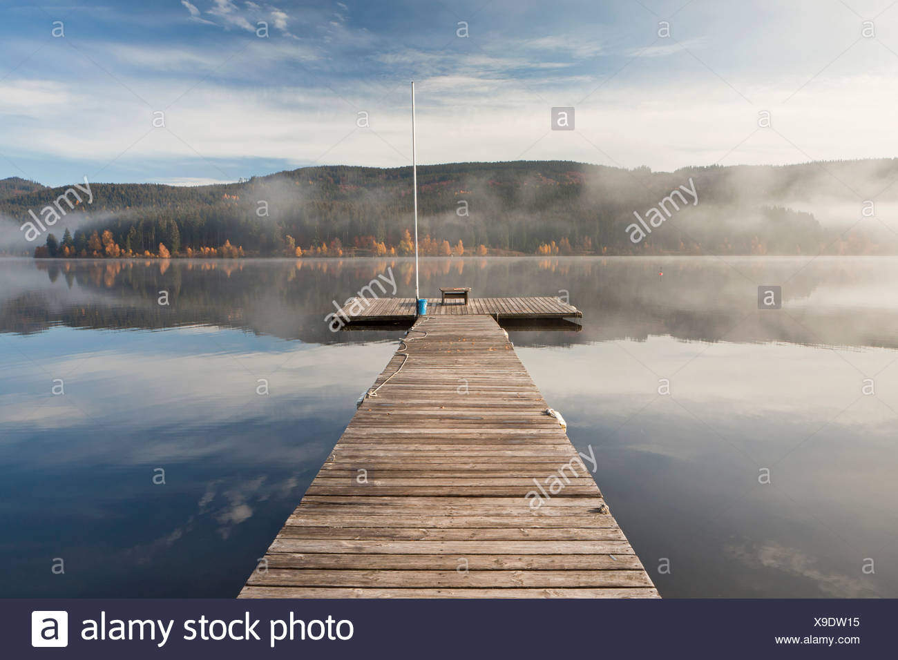 Water reflections on Schluchsee Lake with light autumn fog, Black Forest, Baden-Wuerttemberg, Germany, Europe Stock Photo