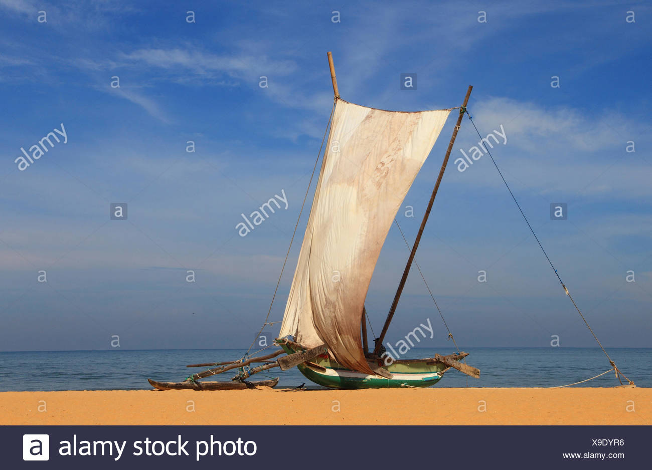 outrigger boat with set sail on the beach of Negombo, Sri Lanka - Stock Image