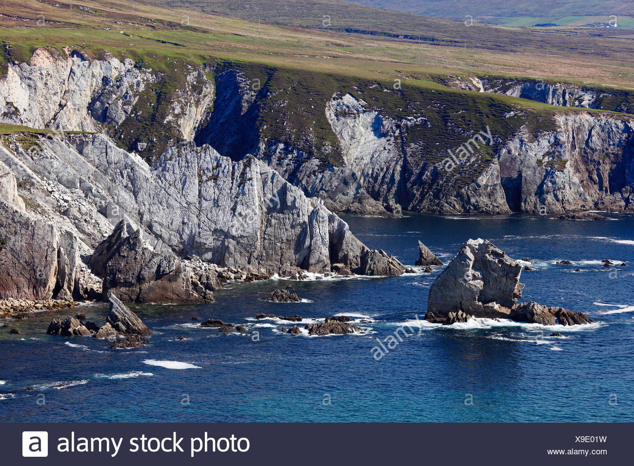 Cliffs near Dooega, Achill Island, County Mayo, Connacht province, Republic of Ireland, Europe - Stock Image