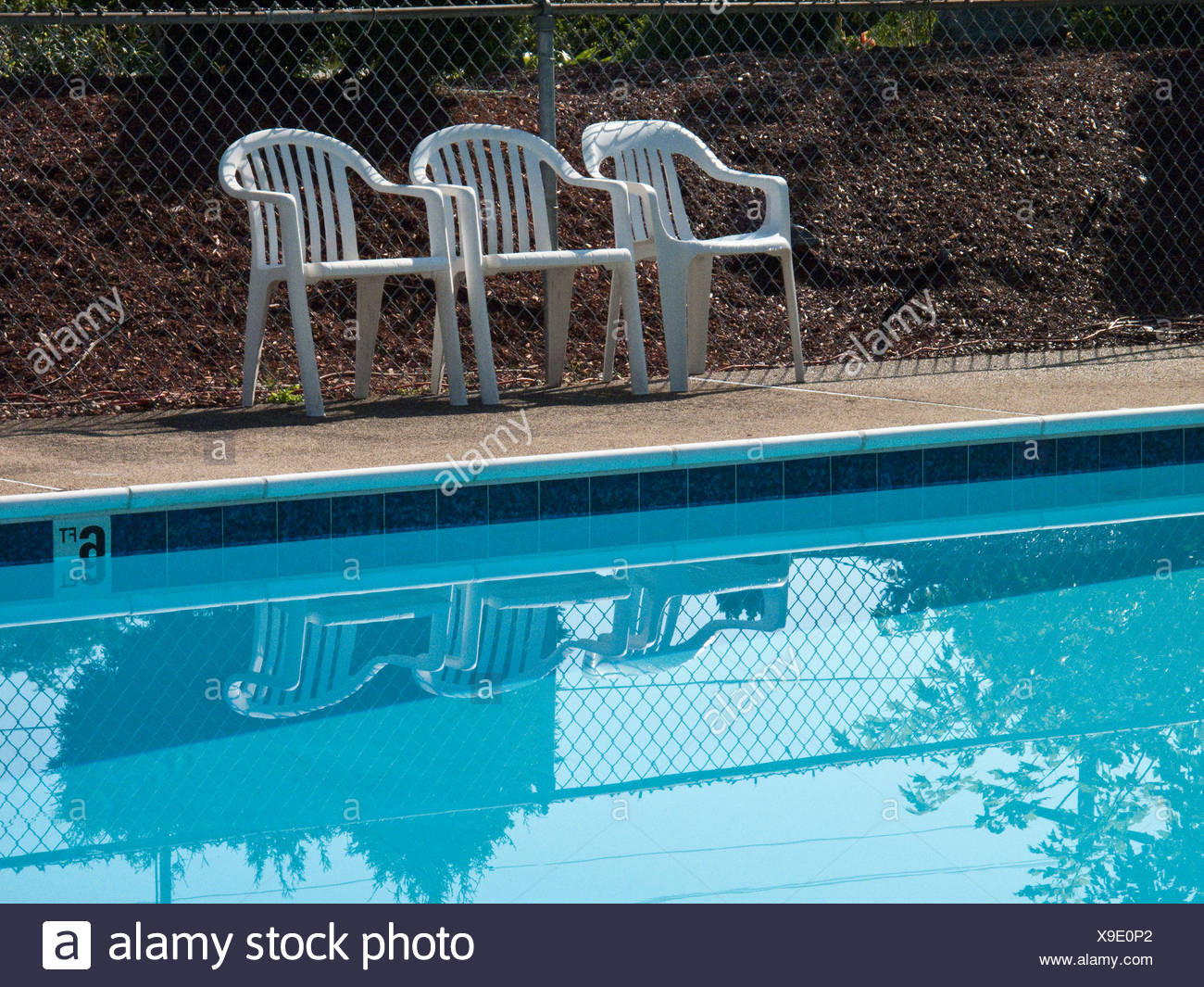 Remarkable Three Plastic Outdoors Chairs At The Edge Of A Swimming Pool Short Links Chair Design For Home Short Linksinfo