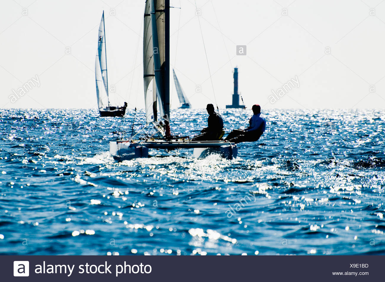 Sailors on the ocean - Stock Image