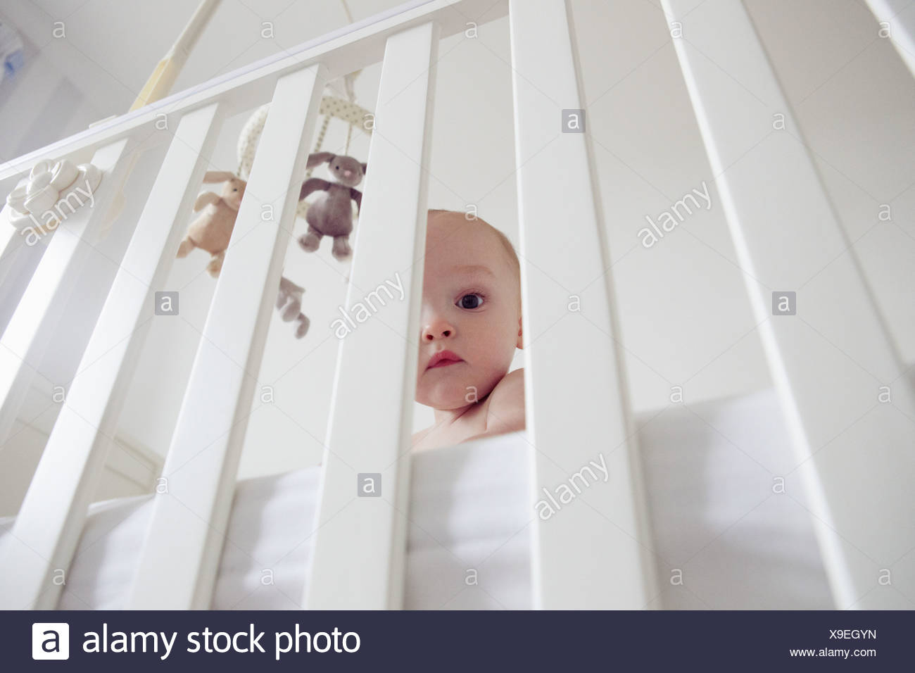 Baby boy behind bars of crib - Stock Image