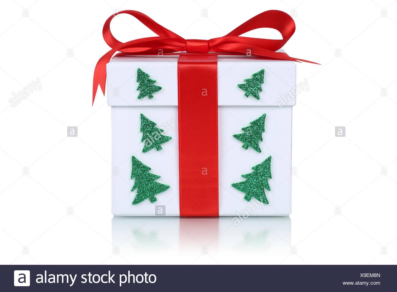 Weihnachtsgeschenk Weihnachten.Weihnachtsgeschenk Geschenk An Weihnachten Mit Tannenbaum Stock
