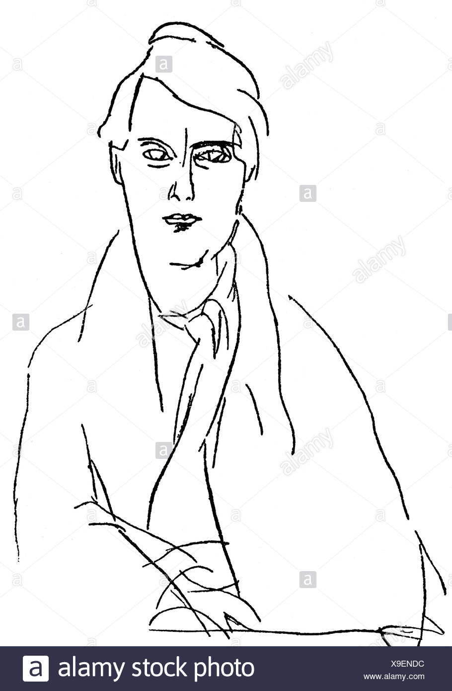 Modigliani, Amedeo, 12.7.1884 & 25.1.1920, Italian artist (painter), self-half length, drawing, Additional-Rights-Clearances-NA - Stock Image