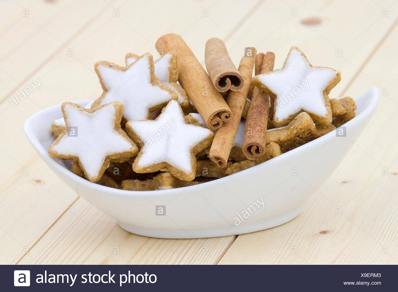 Typical Christmas Cinnamon Star Cookies And Cinnamon Sticks Stock